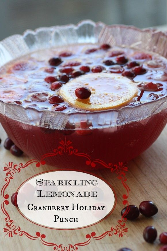 Sparkling lemonade cranberry holiday punch! Great to serve to kids! See more party ideas at CatchMyParty.com. #christmas #recipes #punch #kids