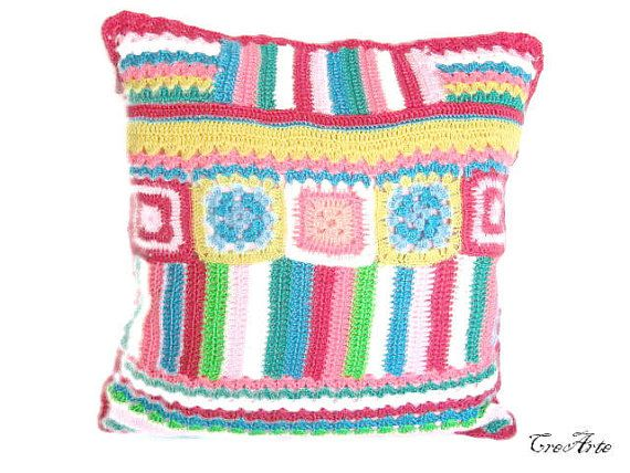 Crochet Colorful Pillow Handmade Pillow by CreArtebyPatty on Etsy
