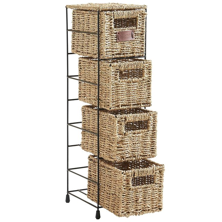 "$37: VonHaus 4-Tier Small Seagrass Basket Storage Tower Unit with Metal Frame - Ideal For Small Bathrooms (25.4""H x 9.5""D x 6.7""W; basket: 9.3(D) x 6.7(W) x 5""(H)"