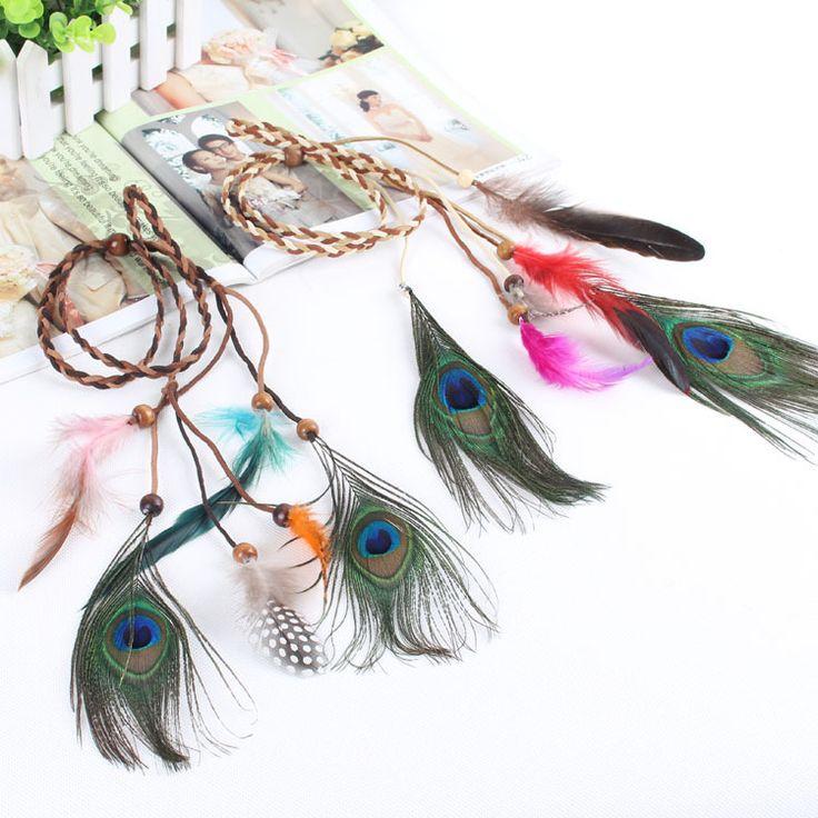 Bohemia Indian folk style fringed hair rope wooden bead peacock feather hair headdress hair band(China (Mainland))