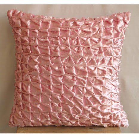 Knotted Pintucks Pink Pillow Cases, Velvet 16X16 Cushion Covers - Soft Pink Snow