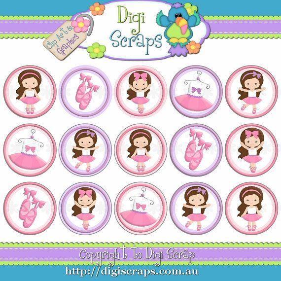 "Ballerina Girls Ballet - Dancing digital bottlecap image bottle cap graphics 1"""