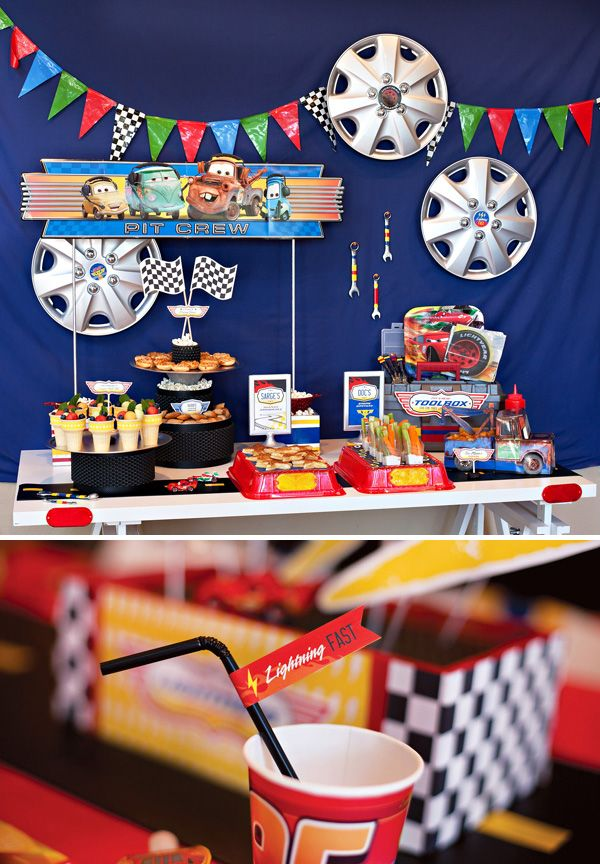 """WOW!!!  IF I ever do a """"character"""" theme party, THIS is the way to do it!!!  Perfect details!  I actually LOVE this Cars party!!!  Super Cool Disney Pixar Cars Birthday Party"""