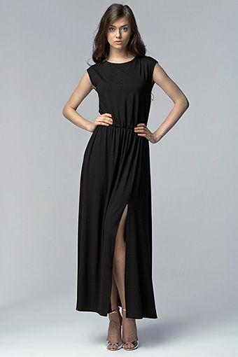 Czarna sukienka maxi z zabudowaną górą