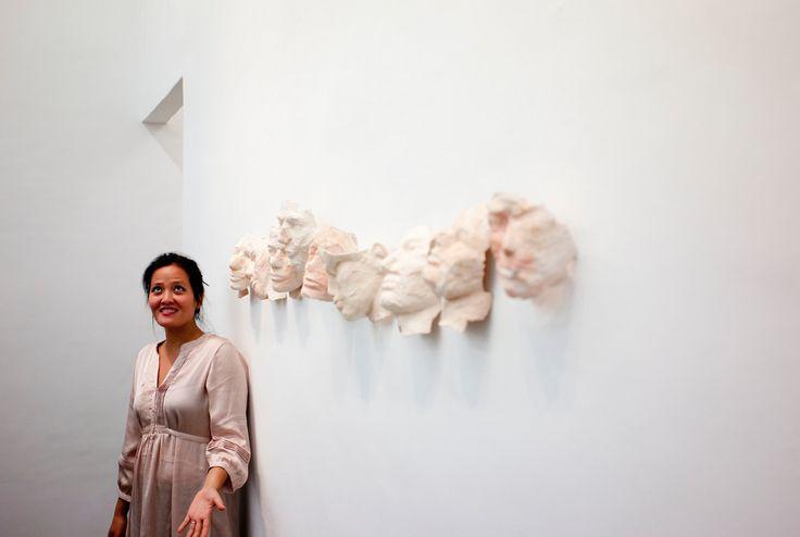 John Vink  CAMBODIA. Phnom Penh. 7/04/2011: YIM Maline at her exhibition at Sa Sa Bassac Gallery.