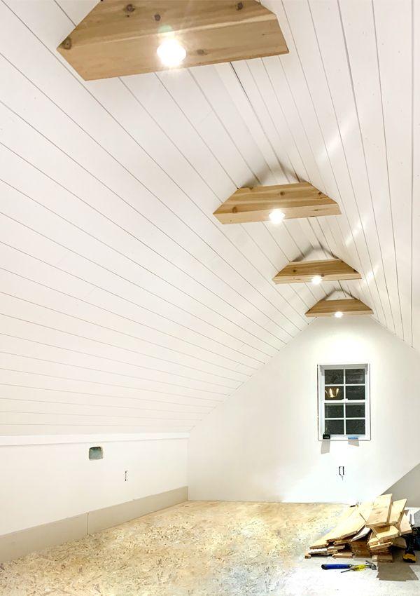 Attic Office Shiplap Ceiling Cedar Beams Are Done Shiplap Ceiling White Shiplap Attic House