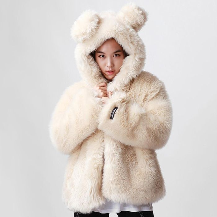 Cheap rabbit fur coat men, Buy Quality rabbit wii directly from China fur coat lining fabric Suppliers:  korean style winter warm faux fur coat white women with rabbit ear hood causal 2014 new brand warm winter jacket women