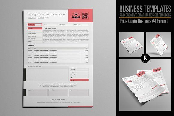Price Quote Business A4 Format by Keboto on @creativemarket