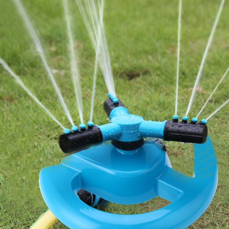 360 Degree Automatic Rotating Water Sprinkler Irrigation System Three Arm Garden Sprinklers Watering Kit