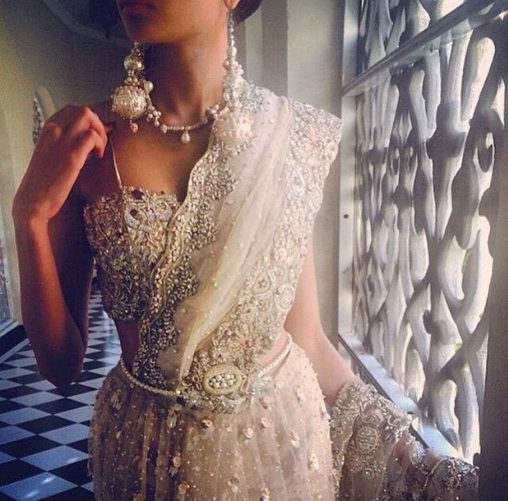 White + Pearls bridal lengha