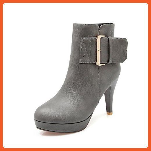 Lucksender Womens High Heel Platform Dress Ankle Boots 10B(M)US Grey - Boots for women (*Amazon Partner-Link)