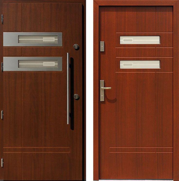 Drzwi wejściowe z aplikacjamii ze stali nierdzewnej inox wzór 473,1-473,11+ds1 orzech