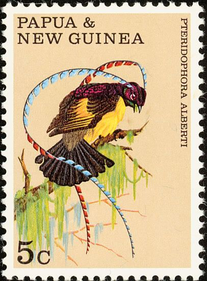 King of Saxony Bird of Paradise - Papua & New Guinea postage stamp.