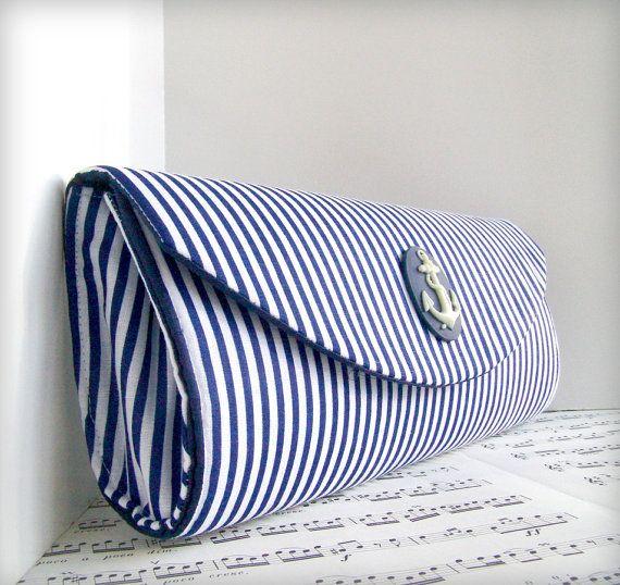 Nautical navy blue clutch purse Spring fashion Striped by toriska, $34.00