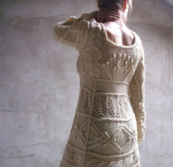 Offwhite hand knit dress tunic sweater wedding dress by Muza
