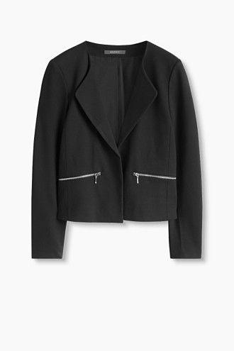 """Blazer jakke til arbejdet - eksempelvis denne fra Esprit (""""Heavy jersey indendørsjakke med lynlåse"""")"""