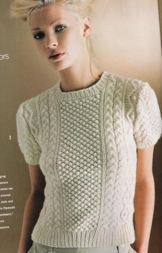 Aran Cabled Top by Michael Kors  Vogue Knitting Holiday 2005 short sleeves