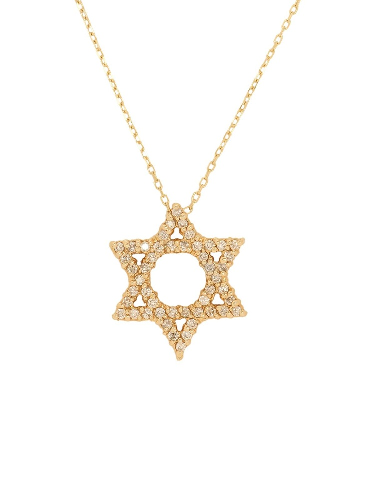 London Jewelers Collection Yellow Gold and Diamond Star of David Pendant Necklace! $840