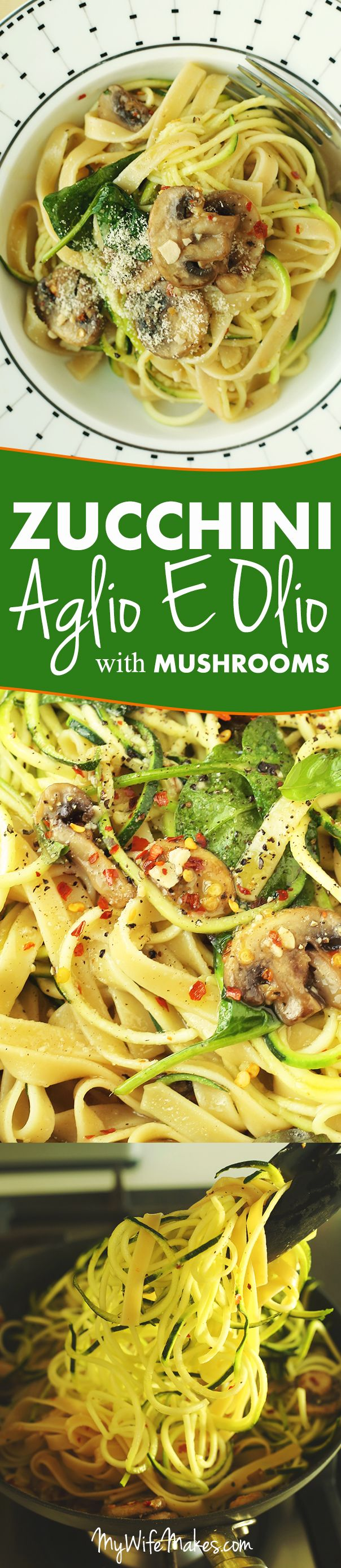 Zucchini Aglio E Olio with Mushrooms: A simple, healthy, and sublimely tasty lunch / dinner dish made with mushrooms, zucchini, basil, garlic, chilli flakes, orange infused olive oil, and fettuccine pasta. #vegan #aglioeolio #pasta #healthy #mushroom #zucchini