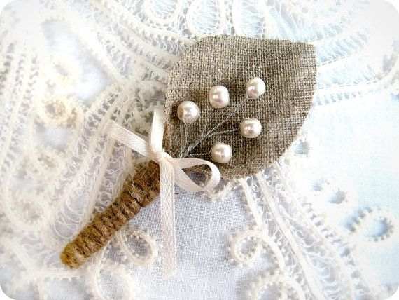 Set of 8-Ivory  sprig pearl burlap Boutonniere