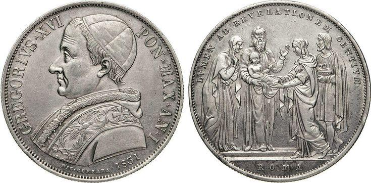 NumisBids: Numismatica Varesi s.a.s. Auction 65, Lot 848 : GREGORIO XVI (1831-1846) Scudo 1831 I, Roma. Pag. 198 Ag •...