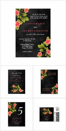 Coral Rose and Chalkboard Black Wedding