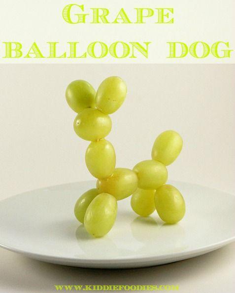 """Luftballon""-Hund aus Trauben"