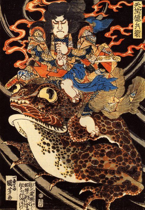 Magician Tenjiku Tokubei seated on a giant toad, Utagawa Kuniyoshi, ca. 1825-30