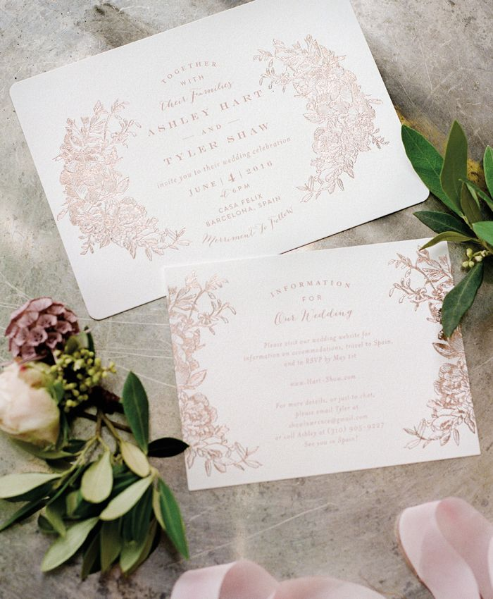 The Best of 2016: Wedding Invitations | Rose Gold Letterpress Invitations by Minted | Photo: Anna Delores #fluttermagissue12 #spainwedding #letterpress