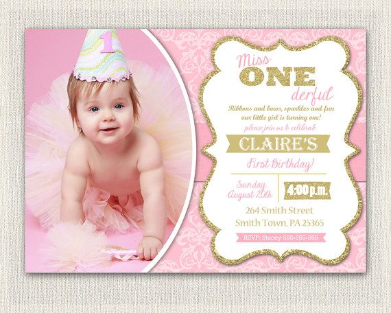 15 best First Birthday Invitations GOLD GIRLS images on – Pink 1st Birthday Invitations