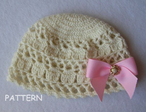 Crochet Baby Hat Patterns 0 3 Months : Vintage Inspired Crochet Baby Hat Pattern Newborn Reborn 0 ...