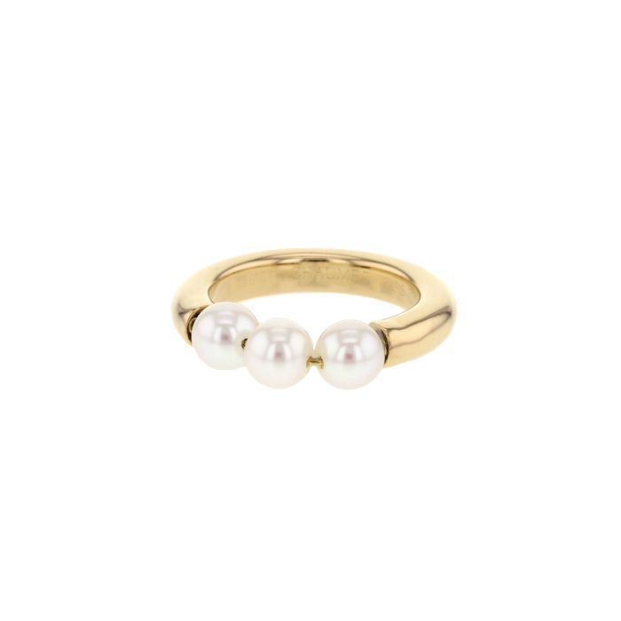 Chaumet bague en or jaune et perles blanches