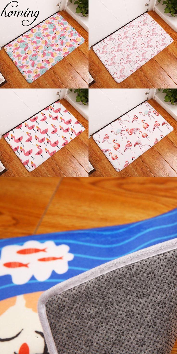 [Visit to Buy] Homing New Arrive in Front of Entrance Door Mats Dense Pink Flamingo Printing Carpets Anti Slip Water Proof Kitchen Bedroom Rugs #Advertisement