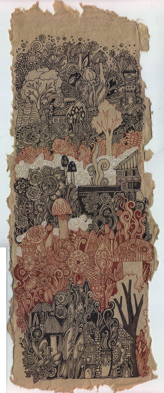 Little Village on The Hill Drawing by Megan Noel by meinoel, $60.00