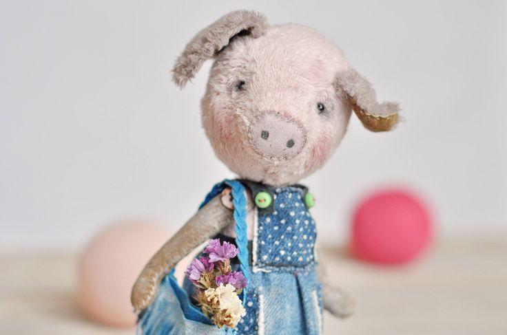 Pink pig toy Teddy bear style stuffed piggy Dressed piglet plush Cute plushie for girl Dollhouse doll Farm animal toys