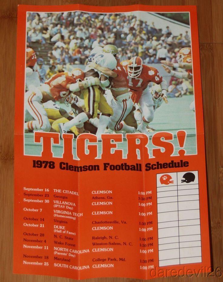 Vintage 1978 Clemson Tigers NCAA Football Ticket Brochure/Schedule Poster