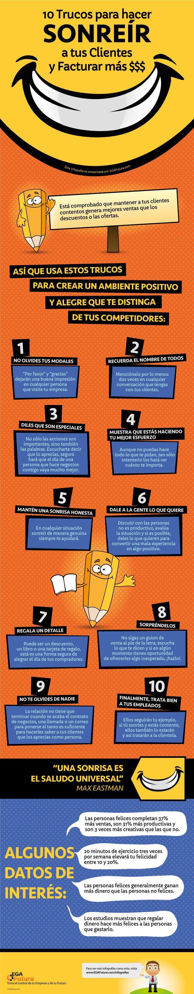 10 trucos para sonreír a los clientes y vender más. Vía @Trecebits #AtenciónAlCliente #Branding #Marketing