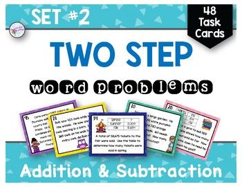 These task cards are great for 3rd and 4th graders!  Two step word problems (addition and subtraction) with 3 and 4 digit numbers.  48 task cards in color and printer friendly black and white.  Recording sheets are included.