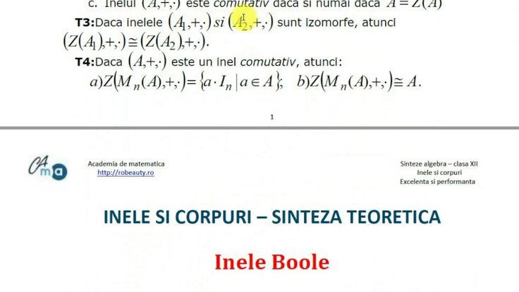XII-Algebra-Sinteze inele si corpuri - excelenta si performanta