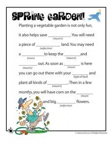 Spring and Easter Mad Libs~ Cute to do on a road trip
