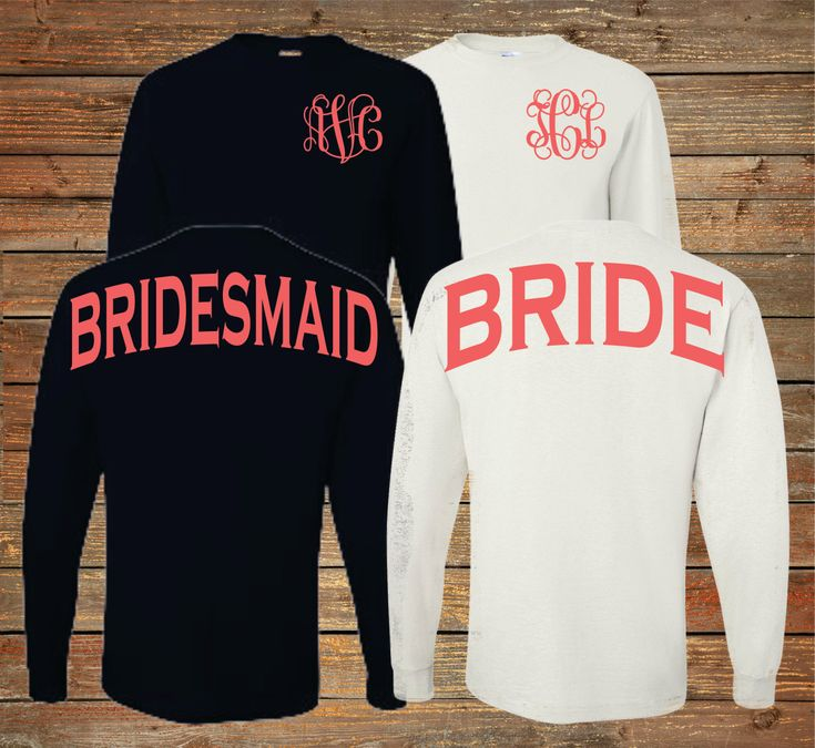 Monogram Bridesmaid Long Sleeve Shirts Personalized Bridal Party Shirts Bachelorette Party (BR029) by SouthernTLC on Etsy