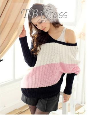 Loose Inclined Three Color Block Casual Korean Sweater