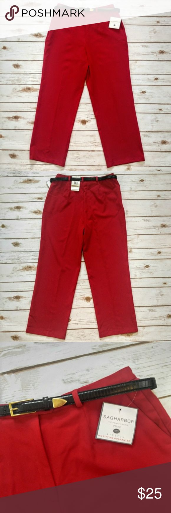 "Sag Harbor Belted Red Dress Pants Sag Harbor Belted Red Dress Pants  Size 12 Petite brand new with tags. 16"" waist 29"" inseam. Please let me know if you have any questions. I ship the same day as long as the post office is still open. Have a great day, thanks for checking out my closet and happy poshing! Sag Harbor Pants Straight Leg"