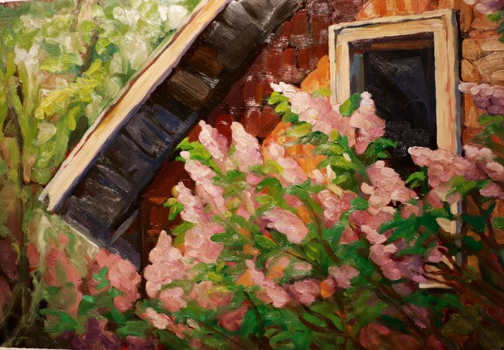 Spring. In. My. Head.   Oils on Terraskin #KathrynKaiser #artist #oil #painting #scene #verityblue
