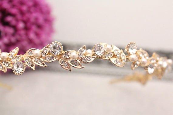 Wedding Bridal Rhinestone Crystal Gold Tiara Headpiece Pink Rose Hair Piece