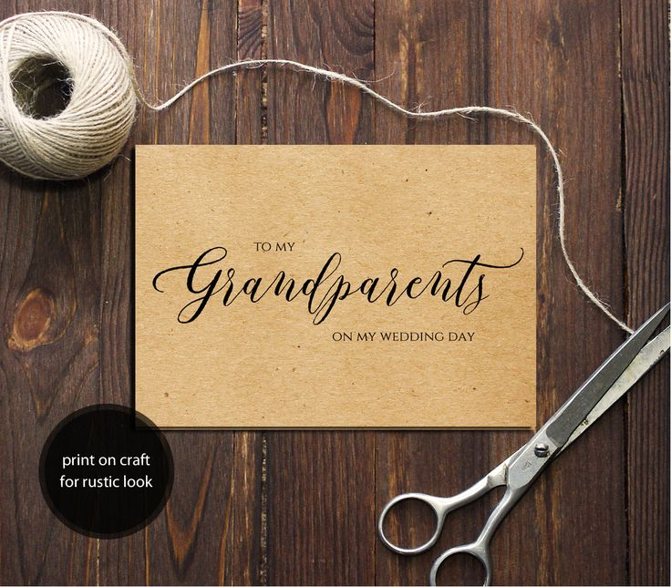 PDF Template 5x3.5 tent style wedding card To My Grandparents card INSTANT DOWNLOAD Wedding calligraphy Grandparents Cards Printable Digital by DreamPrintable on Etsy
