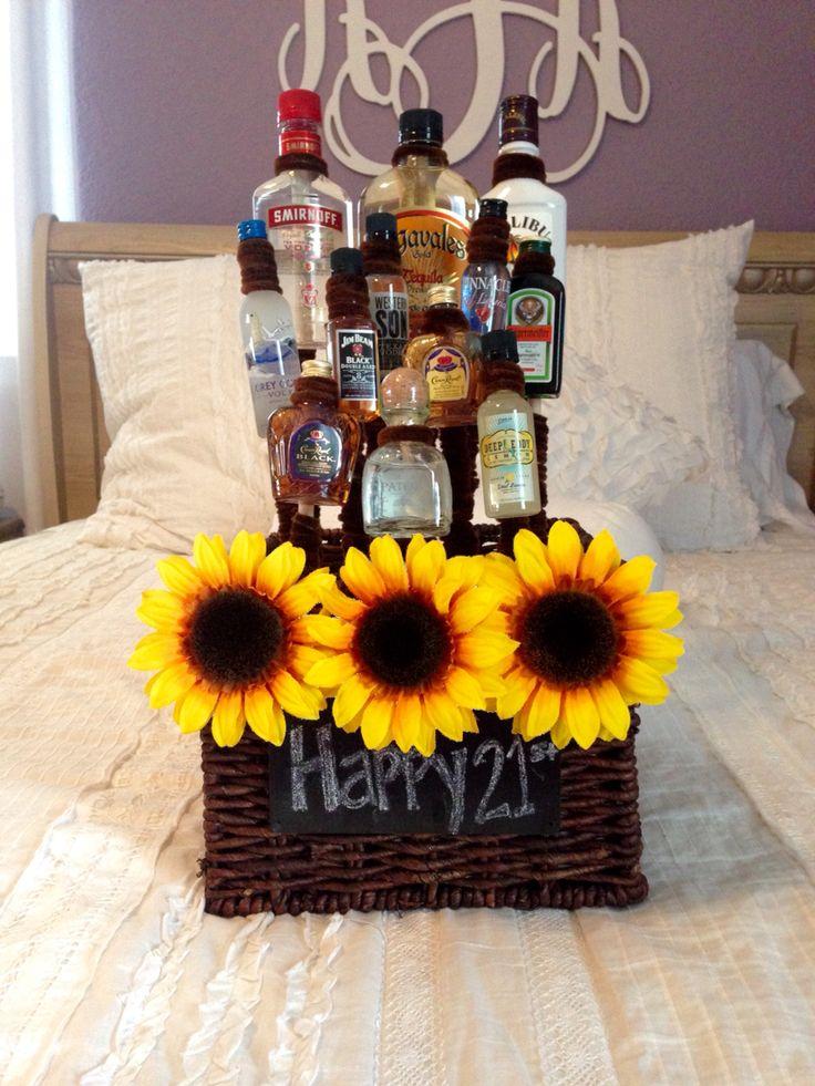 DIY 21st birthday alcohol basket