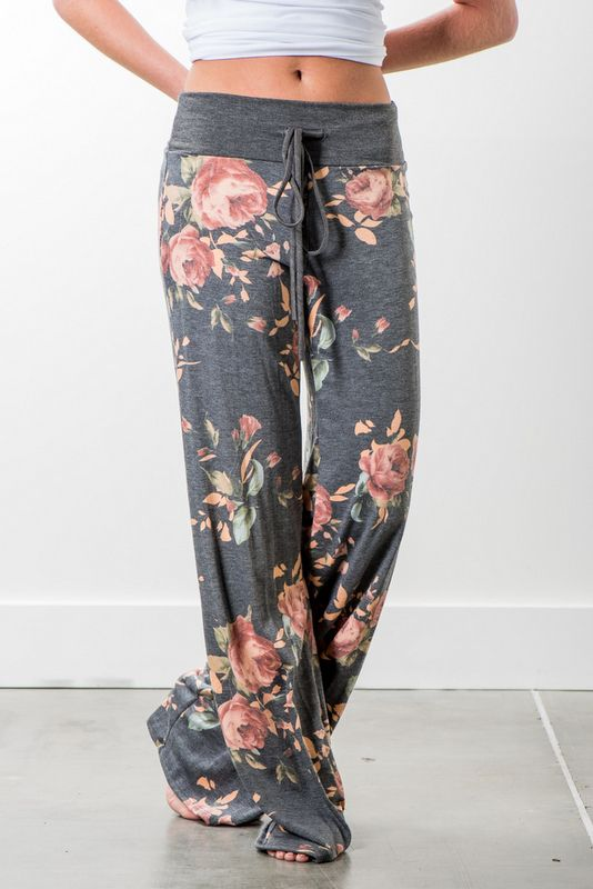 RubyClaire Boutique - Garden Wide Leg Loungers | Charcoal, $32.00 (https://www.rubyclaireboutique.com/garden-wide-leg-loungers-charcoal/) Women's Pajama Pants | Yoga Pants | Floral Pajama Pants | Floral Pajamas | Women's Loungewear