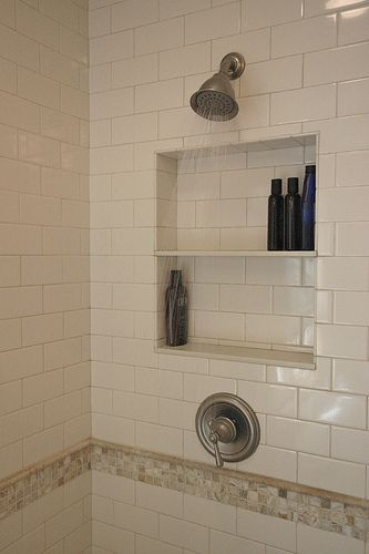 Built in shelf in showerBathroom Decorations, Decor Ideas, Built In Shower Caddy, Shower Head, Bathroom Remodeling, Shower Shelf, Master Bathrooms, Bathroom Ideas, Shower Shelves