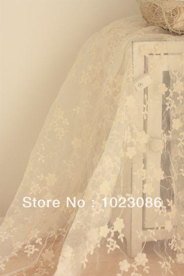 140cmx50cm Vintage Chic Retro Cotton Lace Fabric Cotton Gauze Fabric - Soft White - Wintersweet(China (Mainland))